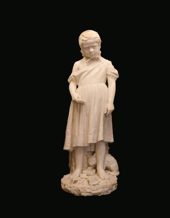 Fina escultura italiana realizado en mármol de Carrara por S. Albano