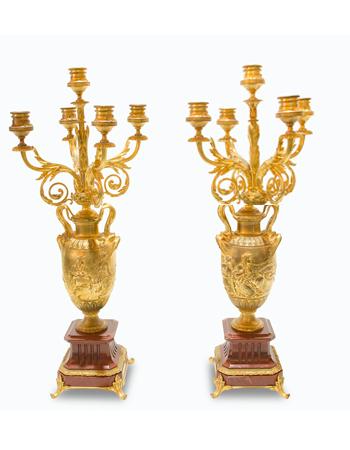 Par de candelabros de 5 brazos por Ferdinand Barbedienne