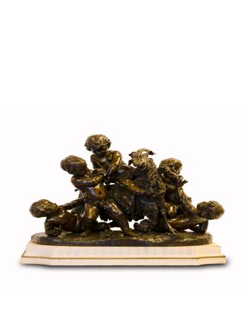 Escultura de bronce con  de marmol de Clodion