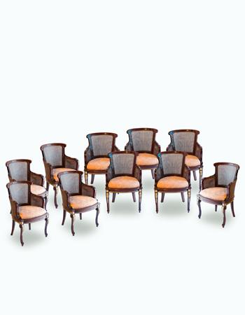 Conjunto de 10 sillones Franceses de estilo Louis XV