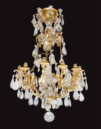 Araña francesa de bronce y cristal del siglo XIX