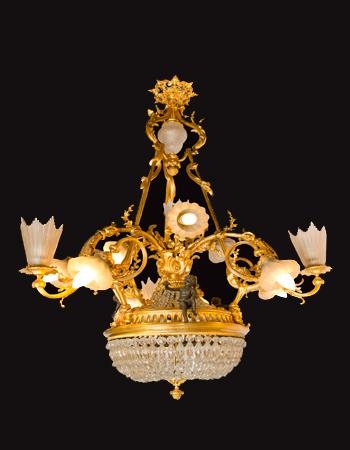 Fina araña Francesa de bronce del siglo XIX