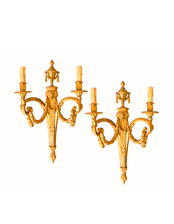 Par de apliques franceses de bronce del siglo XIX