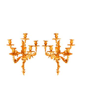 Importante par de apliques Franceses de estilo Louis XV de 5 luces