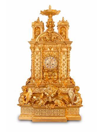 Importante reloj Frances de bronce del siglo XIX