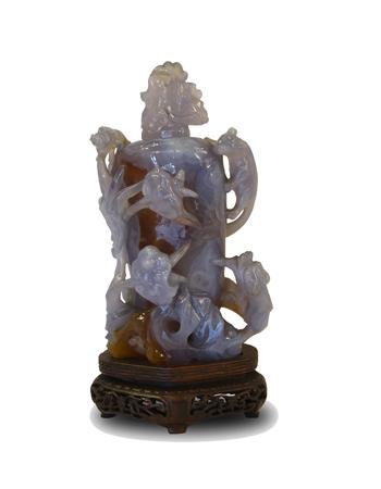 Fina y rara piedra china tallada en ágata