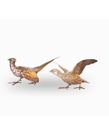 Par de Pheasants en plata europea