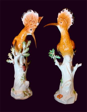 Par de figuras de porcelana de Meissen de pájaros de mediados del siglo XIX
