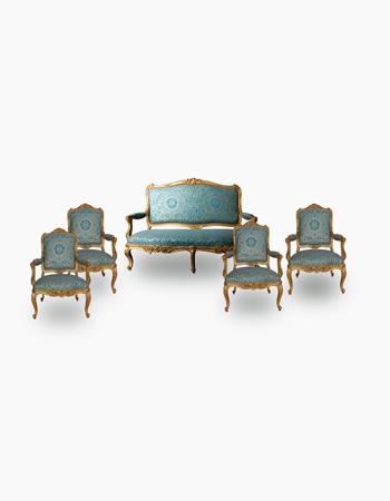 Muy fino juego de sala de 5 piezas de origen francés de estilo Louis XV