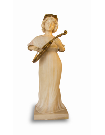 Fina escultura en mármol de carrara bronce y marfil firmada por Affortunato Gory