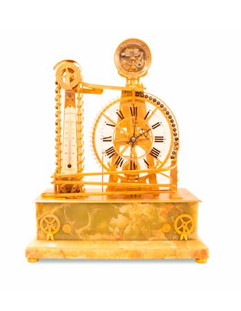Raro reloj francés industrial con mecanismo de pelotas