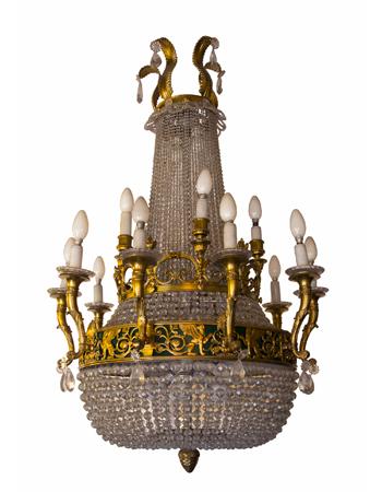 Araña francesa en bronce y cristal de estilo imperio