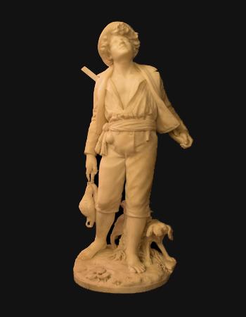 Escultura italiana de un cazador en mármol de carrara