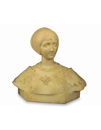 Antiguo busto italiano en mármol de carrara