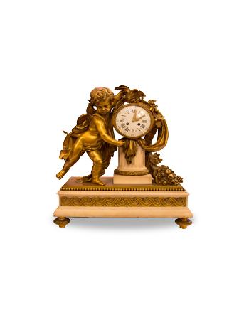 Gran reloj francés en bronce y mármol carrara