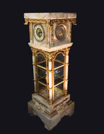 Gran Pedestal-Vitrina con reloj, barometro y termometro includio en onyx frances