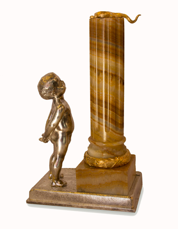 Escultura francesa en bronce plateado y onyx firmada L. Kley